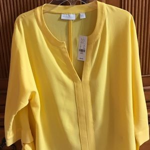 New York & Co Gold colored blouse with 3/4 sleeve.